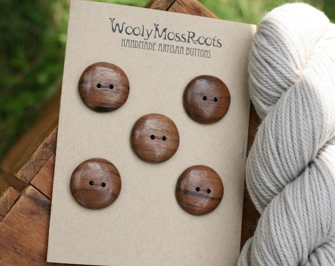5 Black Walnut Wood Buttons