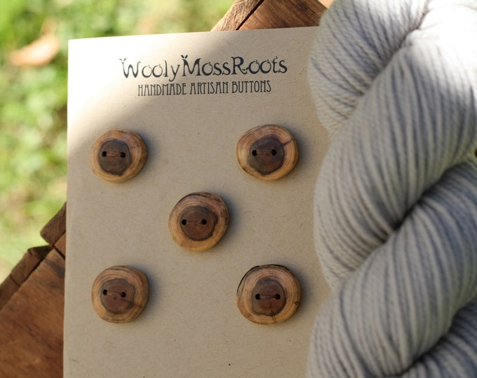 5 Rustic Wood Buttons in Oregon Yew