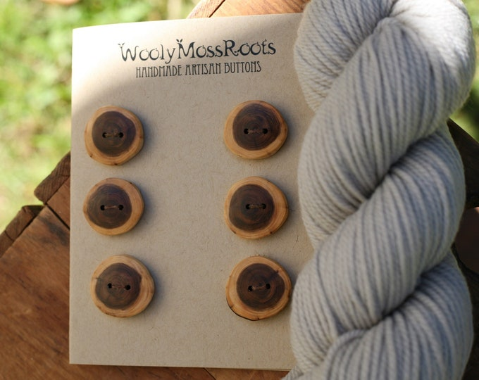 SALE! 6 Rustic Wood Buttons in Oregon Yew