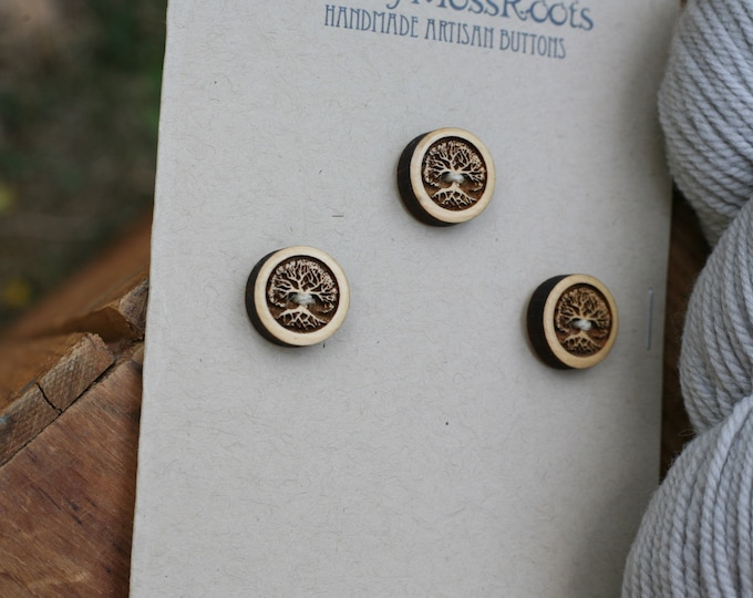 3 Tree Buttons in Yellow Cedar