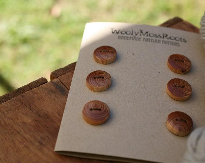 6 Rustic Wood Buttons in Oregon Hemlock