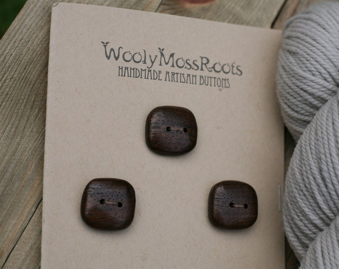 "3 Black Walnut Wood Buttons {7/8""}"
