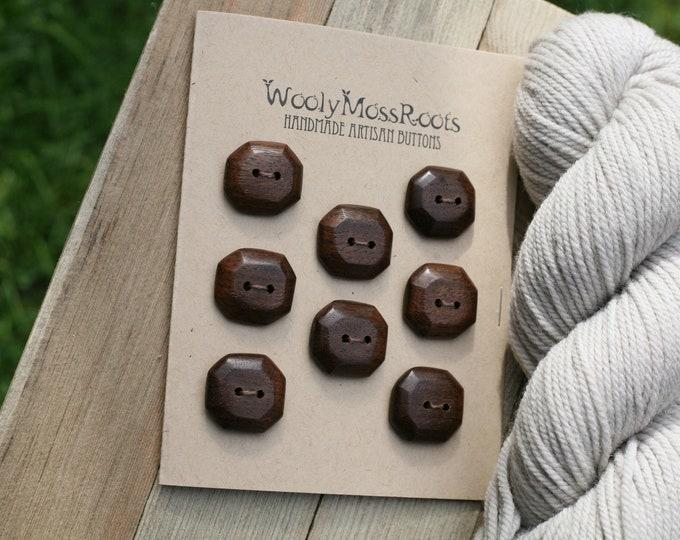 "8 Wood Buttons in Black Walnut {Under 1""}"