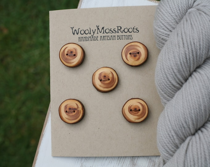 5 Wood Buttons in Oregon Cypress