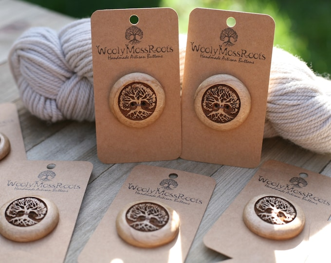 "Tree Buttons in Oregon Myrtlewood {1 & 2/8""}"