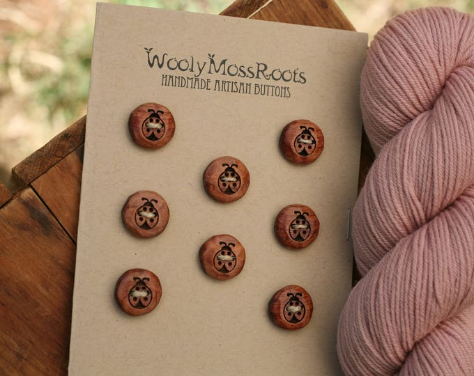 SALE! 8 Ladybug Buttons in Red Cedar
