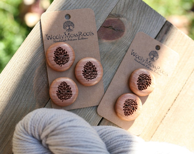 Reserved Listing- 5 Wooden Pinecone Buttons in Cherry
