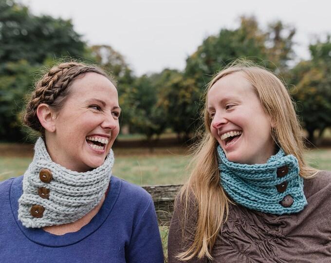 Handknit Grey Cowl : Cedar Buttons {100% Wool}