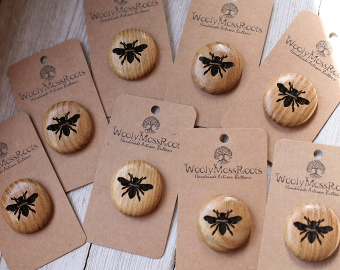 "SALE! Honeybee Buttons in Osage Orange Wood {1 & 1/8""}"