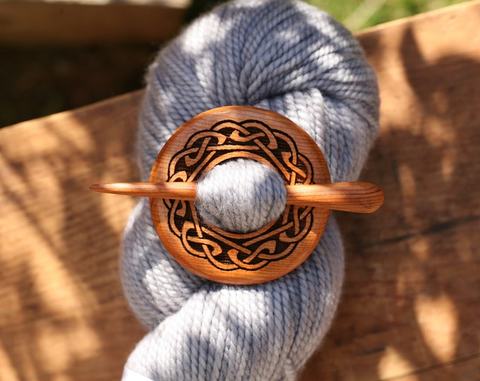 Celtic Knot Shawl Pin in Yew Wood