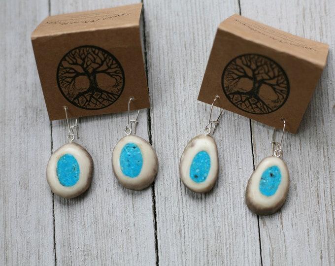 Shed Deer Antler & Turquoise Earrings