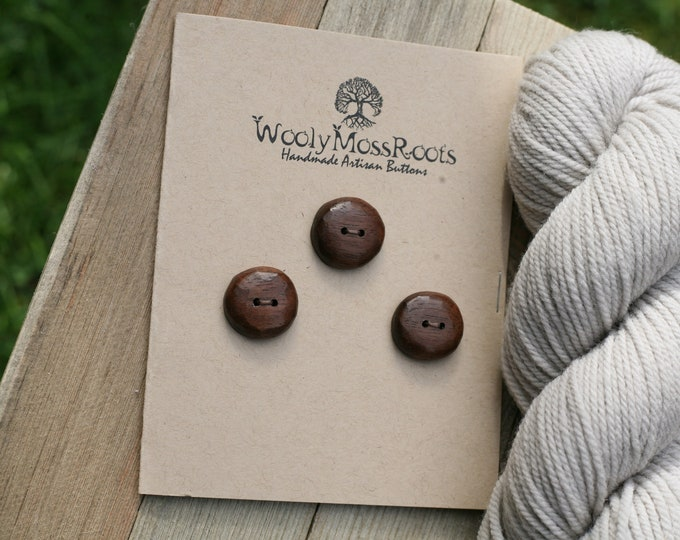 "3 Wooden Buttons in Black Walnut {7/8""}"
