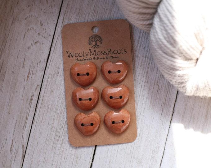 """SALE! 6 Heart Buttons in Red Cedar {3/4""""}"""