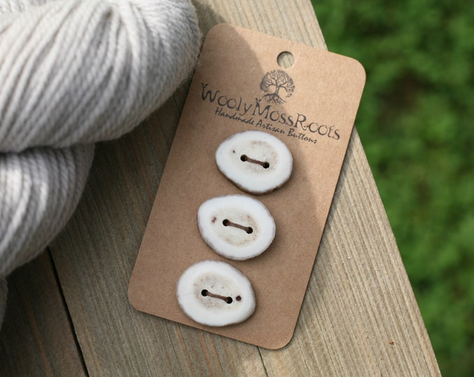 "3 Buttons in Shed Deer Antler {7/8""}"