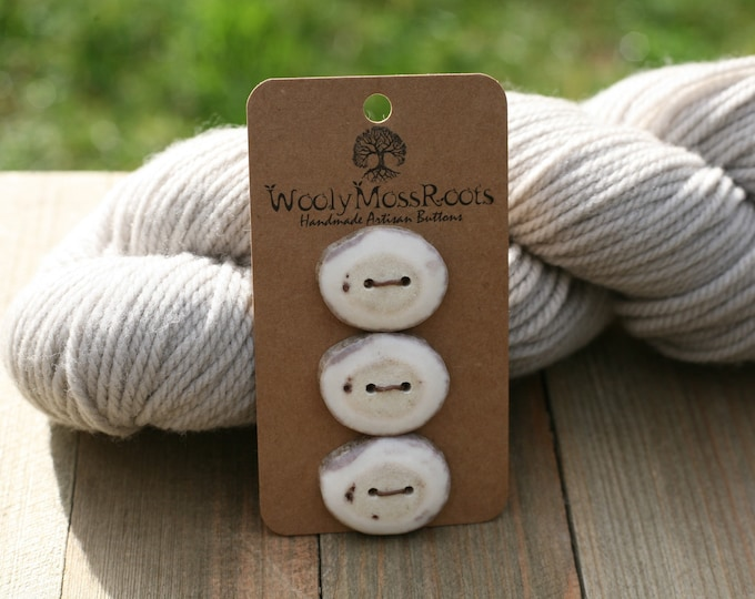 """3 Buttons in Shed Deer Antler {1""""}"""