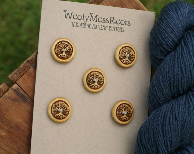 SALE! 5 Yellowheart Wood Tree Buttons
