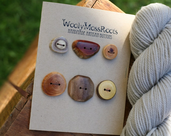 6 Mixed Wood & Antler Buttons