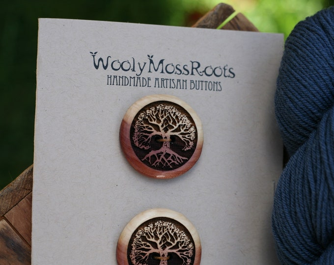 2 Tree Buttons in Red Cedar