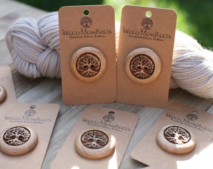 """Tree Buttons in Oregon Myrtlewood {1 & 1/4""""}"""