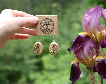 Hand-painted Iris Earrings in Yellow Cedar