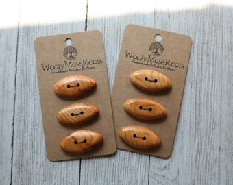 """6 Toggle Buttons in Oregon Yew Wood {1.25""""}"""