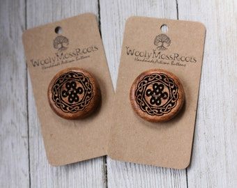 """Love Knot Celtic Buttons in Oregon Madrone Wood {1.25""""}"""