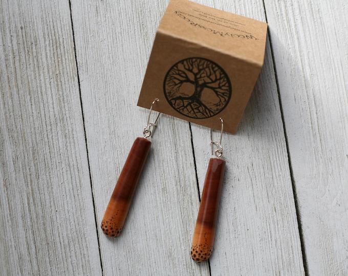 Mountain Mahogany Earrings with Woodburning
