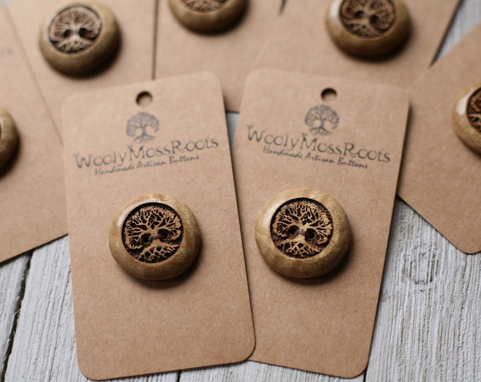 """Tree Buttons in Oregon Myrtlewood {1""""}"""