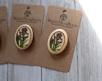 Painted Iris Buttons in Yellow Cedar Wood