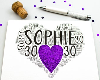 30th Birthday Heart Sparkle Personalised Card