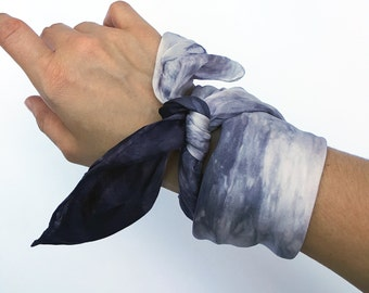 Soft Gray Shibori Neck Scarf - Hand Dyed Habotai Silk