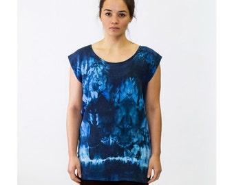 Women's Indigo/Dark Blue Abstract Organic Pattern - Tie Dye Hand Dyed Shibori Silk Tunic - 354