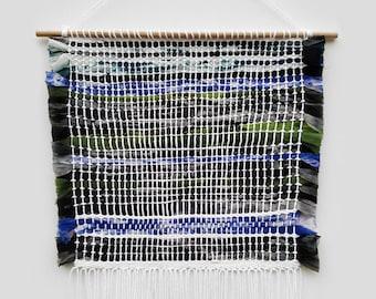 Handmade Tapestry Weaving Wall Hanging/Decor - Black, Grey, Green, Purple Silk Chiffon