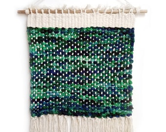 Handmade Tapestry Weaving Wall Hanging/Decor - Green & Blue