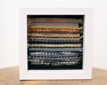 Handmade Tapestry Weaving Framed in White Shadow Box