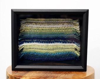 Handmade Tapestry Weaving Framed in Black Shadow Box