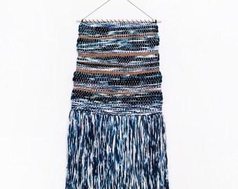 Handmade Tapestry Weaving Wall Hanging/Decor - Indigo Blue/Metallic Copper