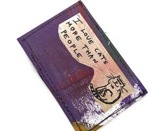 Slim wallet, thin wallets, mini wallet, credit card holder, business card holder, front pocket wallet , vegan wallet, art wallet, cat wallet