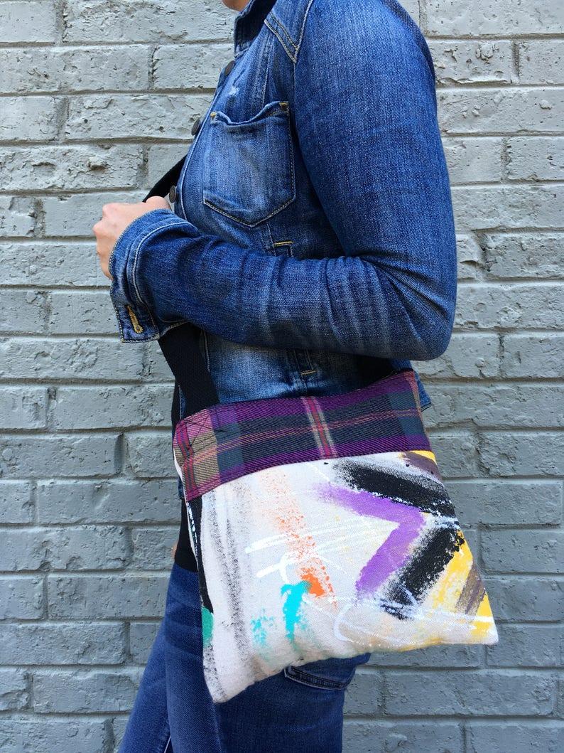 Crossbody bag recycled bag painted bag upcycled handbag image 0
