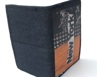 New York wallet, bi fold wallet, small bifold wallet, credit card holder, business card holder, recycled wallet