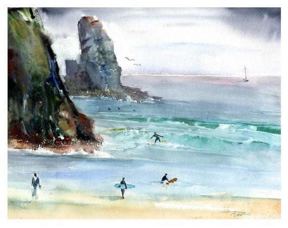Piha Beach New Zealand Print Watercolor Seascape New Zealand Etsy