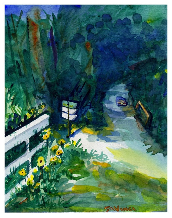 Cape Cod Landscape Watercolor Flowers With Mailbox Etsy