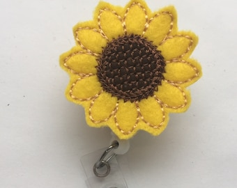 Sunflower  Badge Reel - Sunflower Badge Reel Feltie - Interchangeable Badge Reel - Retractable Badge Reel - Summer badge Reel