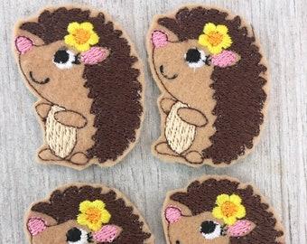 Hedgehog  Felties Set of 4 - Animal Feltie - little girl hedge hog Feltie