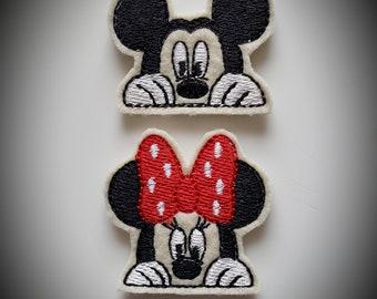 Peeking Mouse Felties Set of 4 - Mickey Feltie - Minnie Feltie - Mouse Feltie