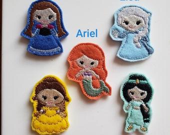 Disney Princess Feltie Set of 4 - Anna Feltie - Elsa Feltie - Ariel Feltie - Belle Feltie - Jasmine Feltie
