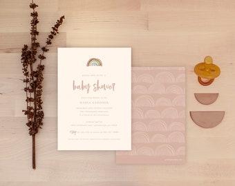 Rainbow Baby Shower Invitations - Cream Multi