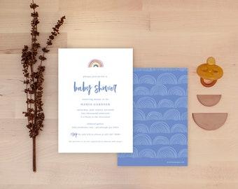 Rainbow Baby Shower Invitations - White Multi