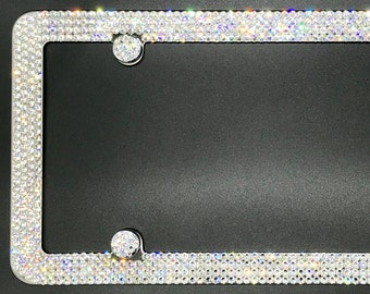 6 Row Chrome Metal License Plate Frame Made With Swarovski