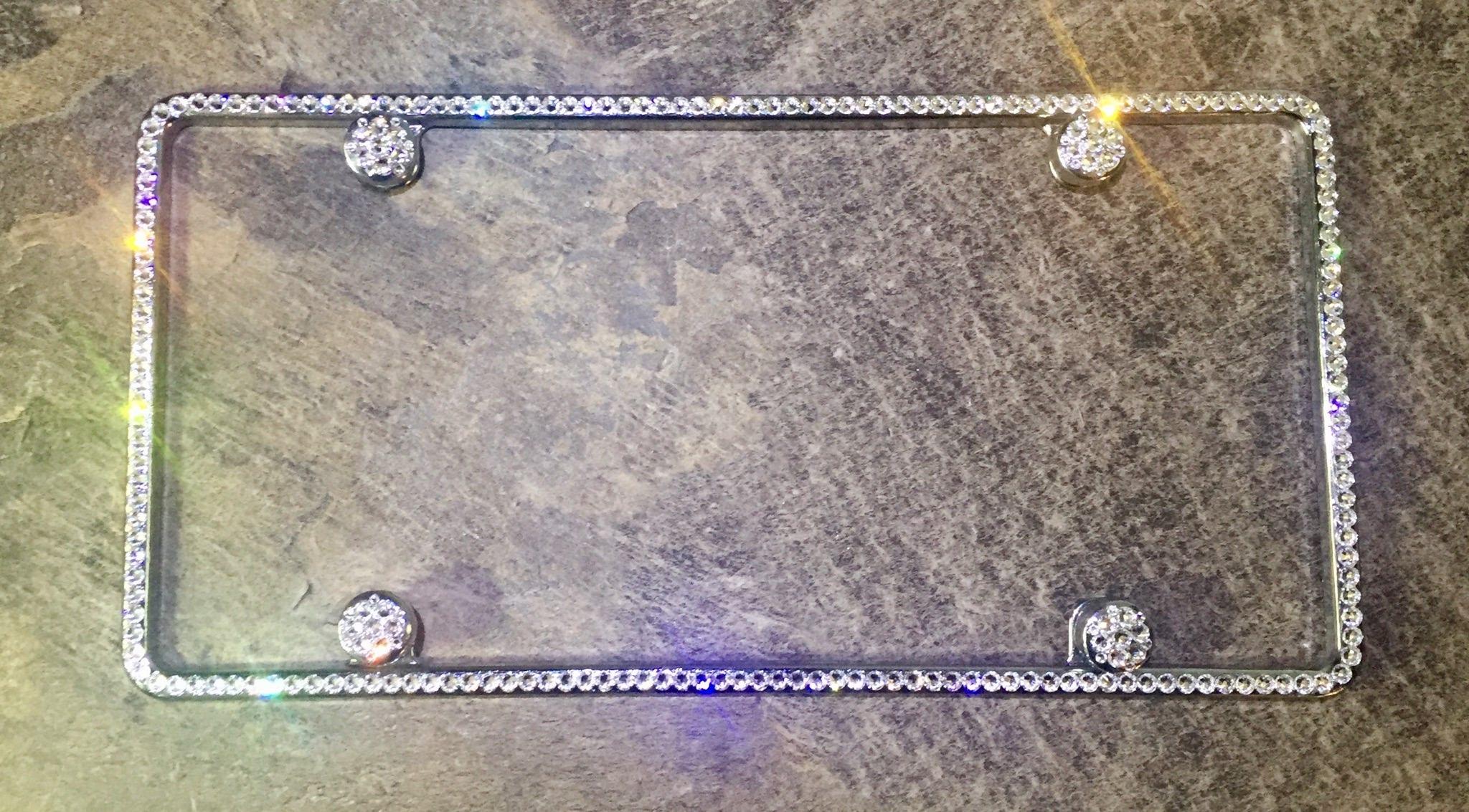 Swarovski Kristall Nummernschild Rahmen Bling Auto-Schmuck